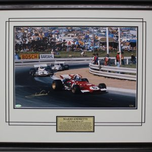 Mario Andretti signed 1971 South Africa Victory Photo Ferrari