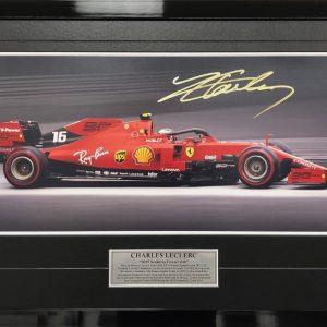 Charles Leclerc 2019 signed Full Speed Photo Ferrari