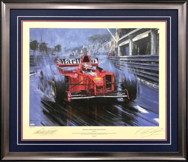 Michael Schumacher signed Nicholas Watts painting