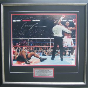 lennox lewis signed v mike tyson photo memorabilia collectibles