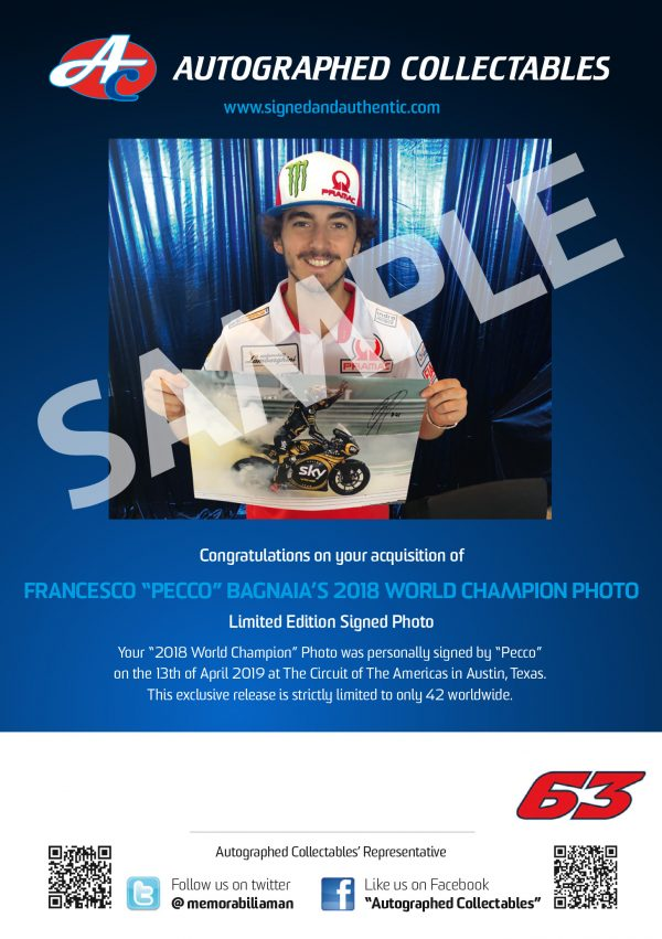 pecco bagnaia world champion signed memorabilia motogp authenticity