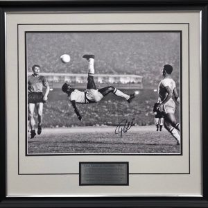 Pele signed Brazil collectibles back flip memorabilia