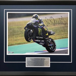 Valentino Rossi 2019 signed yamaha motogp wheelie photo collectibles