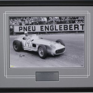 Stirling Moss signed Spa Mercedes photo 1955