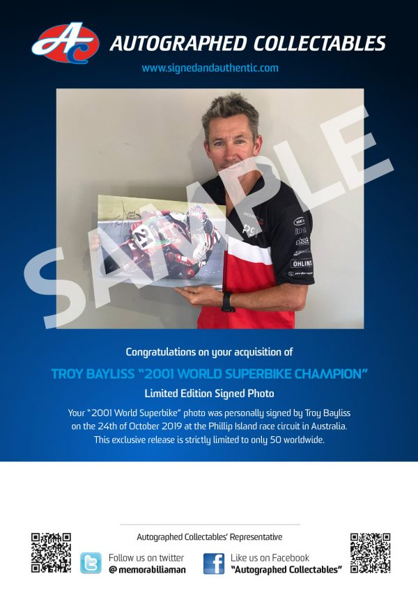 troy bayliss 2001 world sbk champion signed memorabilia collectibles