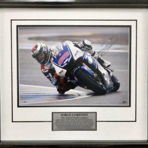 Jorge Lorenzo 2012 LeMans Victory Signed Yamaha MotoGP Photo