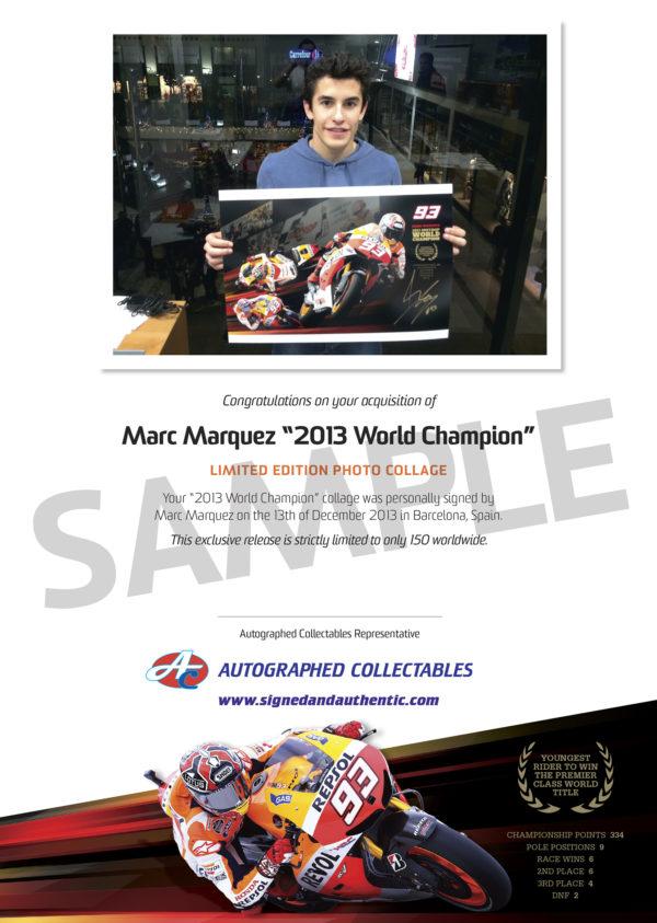 Marc Marquez 2013 Rookie Rising Signed Repsol Honda MotoGP Memorabilia Authenticity