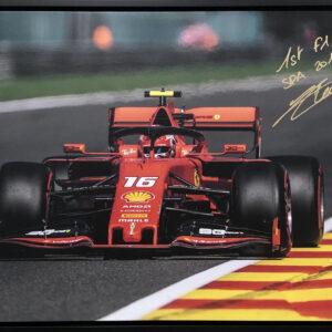 Charles Leclerc SPA Victory Ferrari F1 memorabilia signed