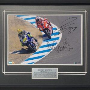 Valentino Rossi Casey Stoner 2008 Laguna corkscrew signed yamaha ducati motogp memorabilia