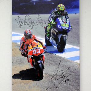Marquez v Rossi 2013 Laguna Seca signed MotoGP memorabilia