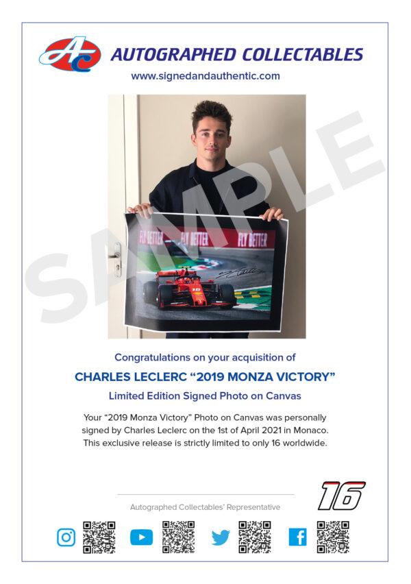Charles Leclerc signed Ferrari Memorabilia Monza 2019