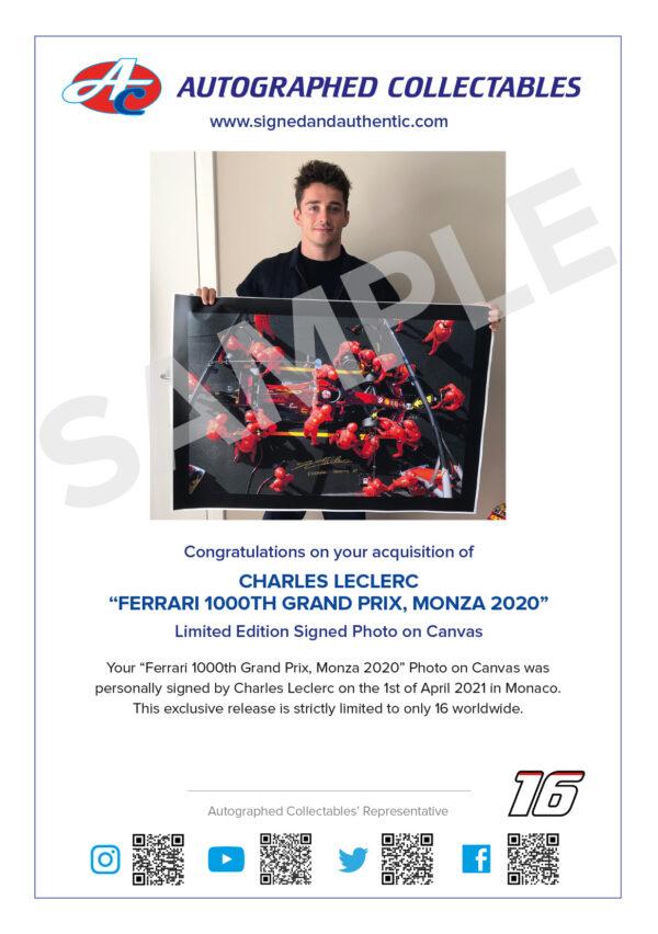 Charles Leclerc Signed Ferrari 1000th GP Memorabilia