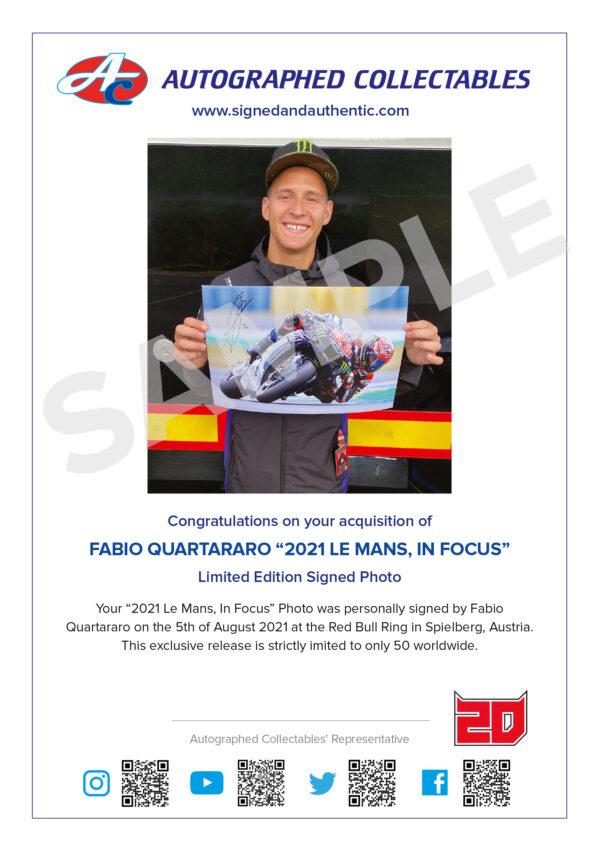 Fabio Quartararo MotoGP Yamaha Signed Le Mans photo Authenticity